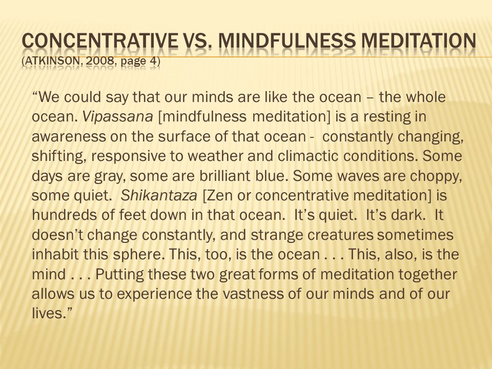 We could say that our minds are like the ocean – the whole ocean. Vipassana [mindfulness meditation] is a resting in awareness on the surface of that
