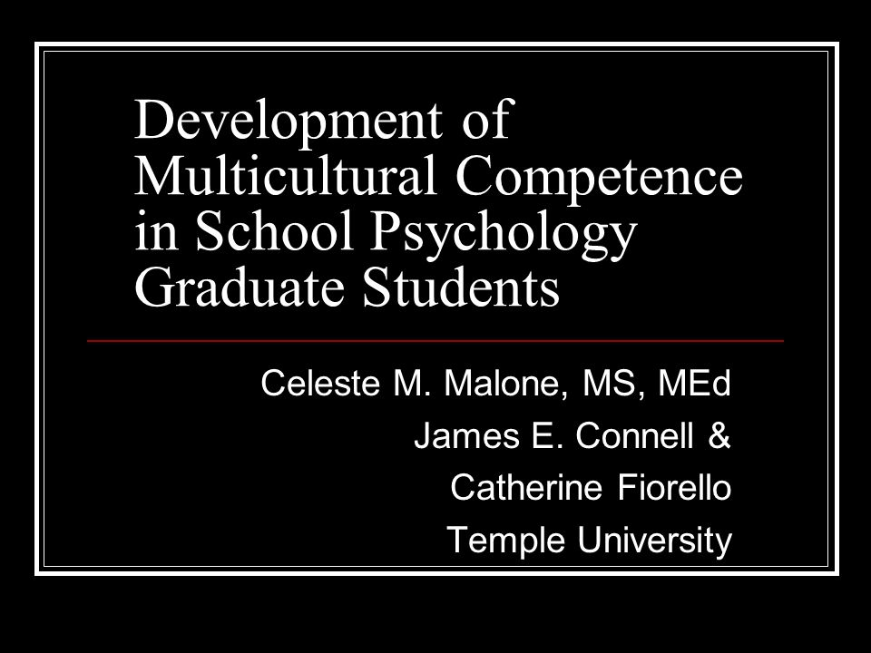Development of Multicultural Competence in School Psychology Graduate Students Celeste M.
