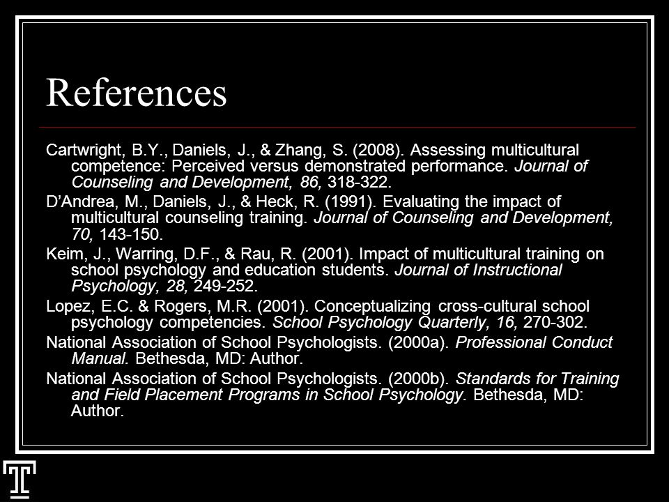 References Cartwright, B.Y., Daniels, J., & Zhang, S.
