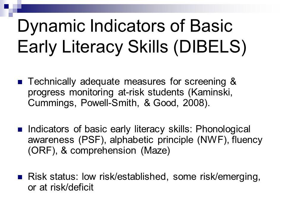 DIBELS - English Speakers & ELLs PSF & NWF effective measures for native English speakers (Felton & Pepper, 1995; Torgesen, Wagner, & Roshotte, 1994) PSF & NWF just as effective & predictive with ELLs (Vanderwood, Linklater, & Healy, 2008)