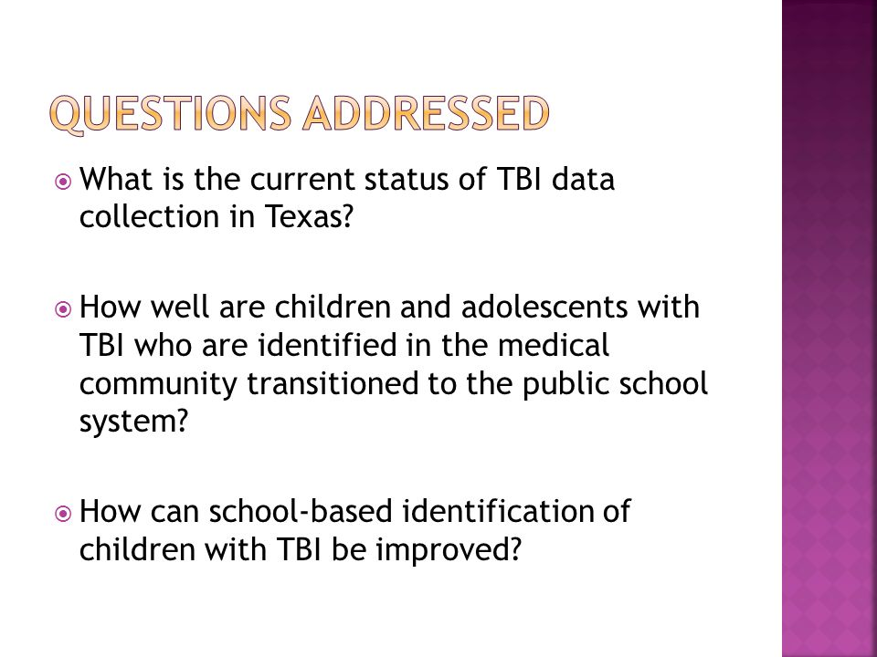What is the current status of TBI data collection in Texas.