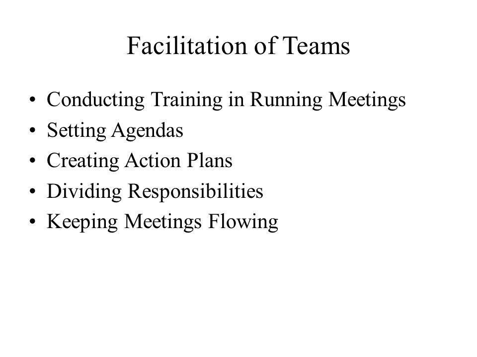 Facilitation of Teams Conducting Training in Running Meetings Setting Agendas Creating Action Plans Dividing Responsibilities Keeping Meetings Flowing