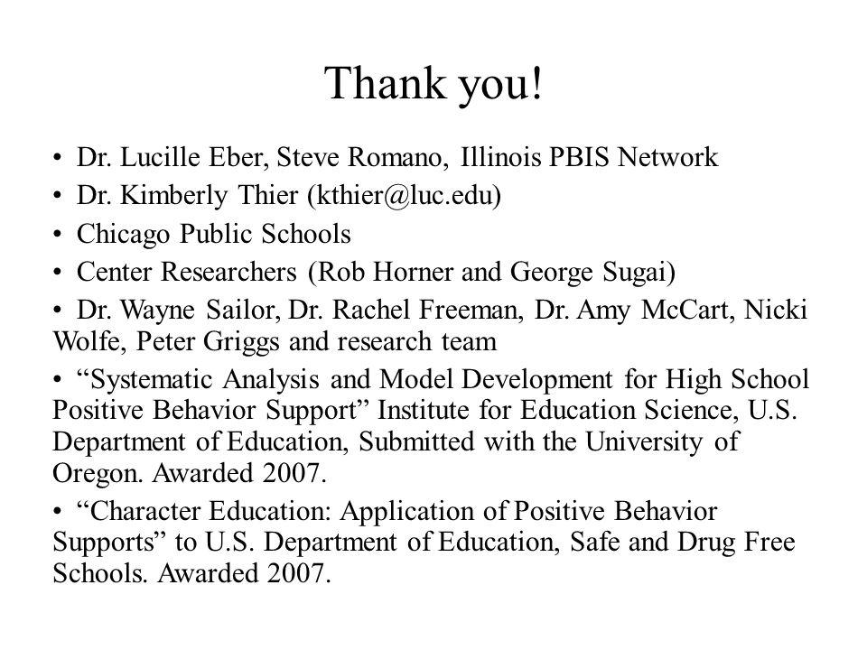 Thank you! Dr. Lucille Eber, Steve Romano, Illinois PBIS Network Dr. Kimberly Thier (kthier@luc.edu) Chicago Public Schools Center Researchers (Rob Ho