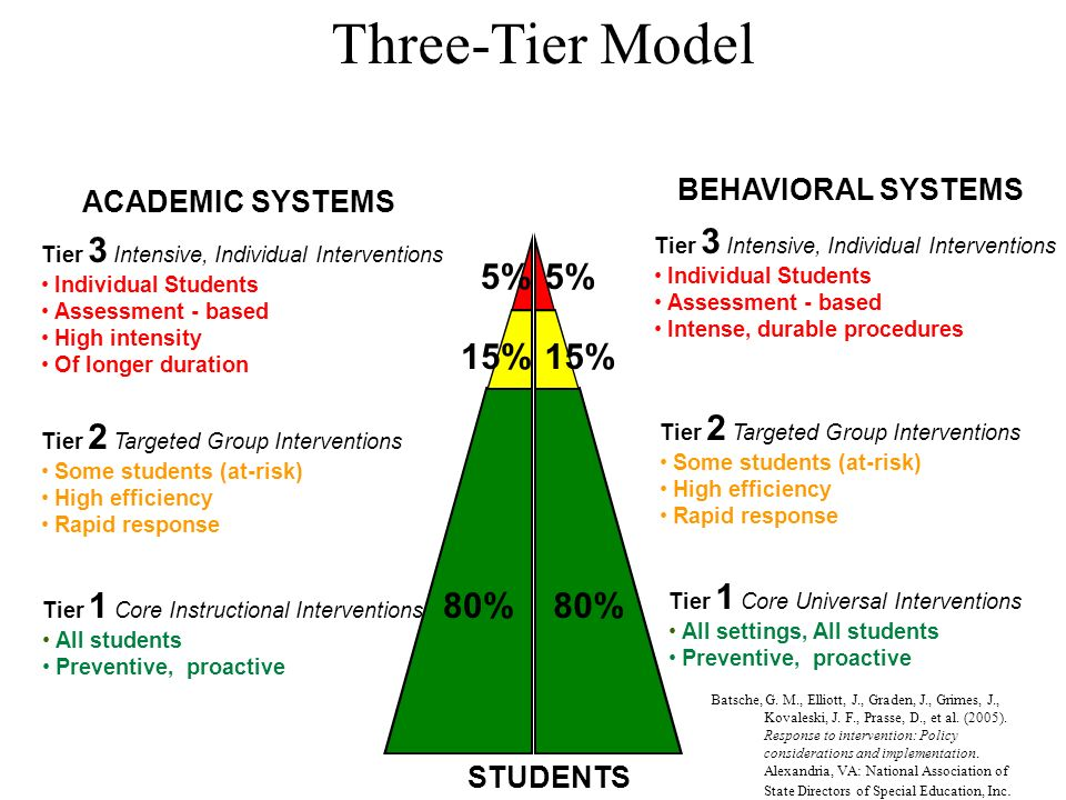 ACADEMIC SYSTEMS BEHAVIORAL SYSTEMS Tier 1 Core Instructional Interventions All students Preventive, proactive STUDENTS Three-Tier Model 80% Tier 1 Co