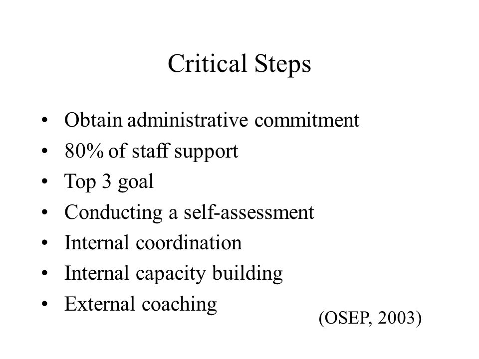 Critical Steps Obtain administrative commitment 80% of staff support Top 3 goal Conducting a self-assessment Internal coordination Internal capacity b