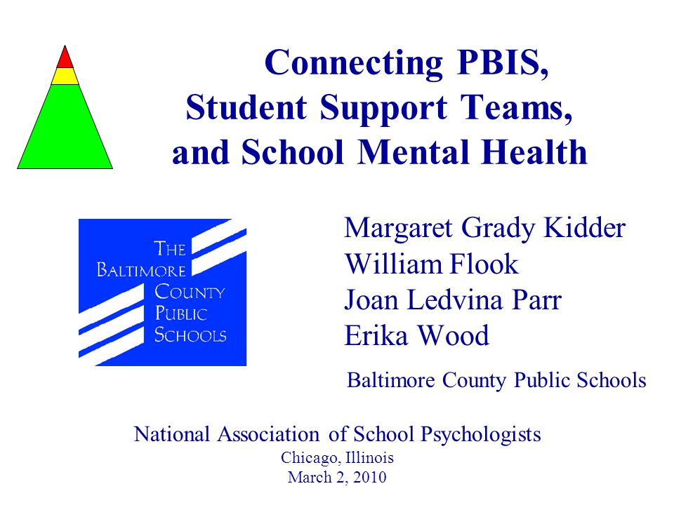 Basic Concepts of PBIS New School Teams are trained at the PBIS Summer Institute sponsored by Maryland State Department of Education, Sheppard Pratt Health System, and the Johns Hopkins University The following training materials are adapted from the PBIS model as developed by Dr.