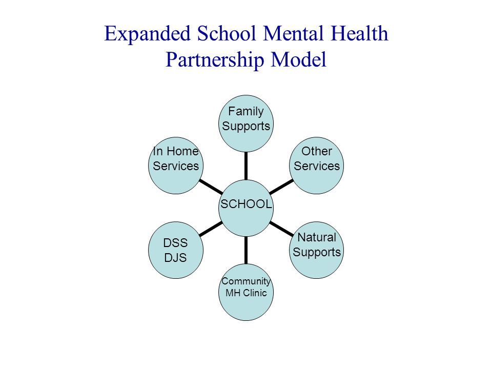 Expanded School Mental Health Partnership Model SCHOOL Family Supports Other Services Natural Supports Community MH Clinic DSS DJS In Home Services