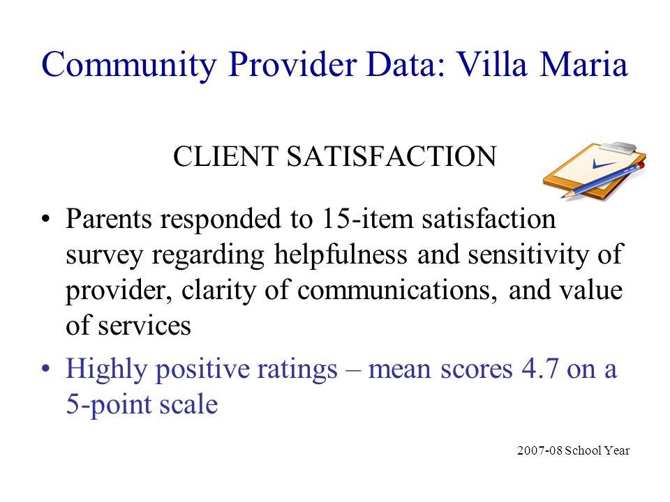 Community Provider Data: Villa Maria CLIENT SATISFACTION Parents responded to 15-item satisfaction survey regarding helpfulness and sensitivity of pro