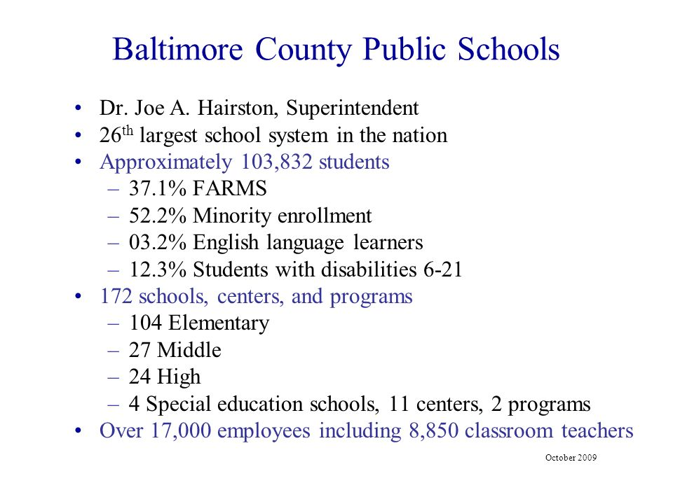 Baltimore County Schools Trained in PBIS (1)(4)(11)(9)(6)(16)(15)(1)(9)(3) Data Aug 2008 – June 2009 (4)
