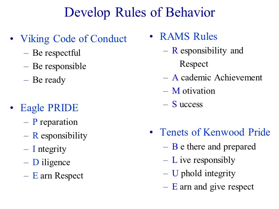 Develop Rules of Behavior Viking Code of Conduct –Be respectful –Be responsible –Be ready Eagle PRIDE –P reparation –R esponsibility –I ntegrity –D il