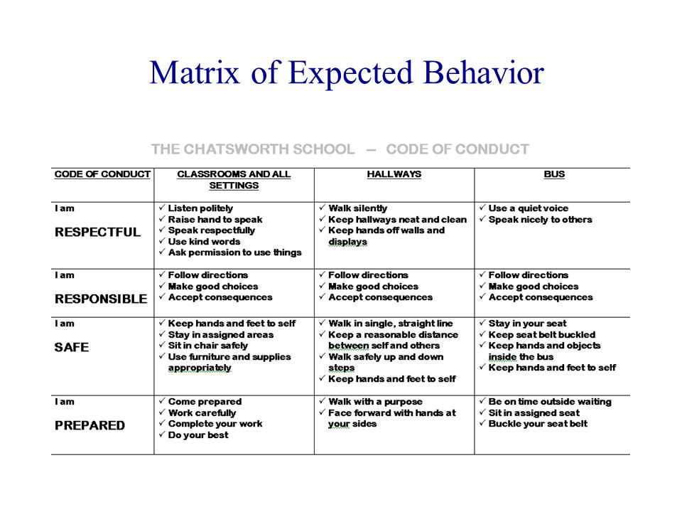 Matrix of Expected Behavior