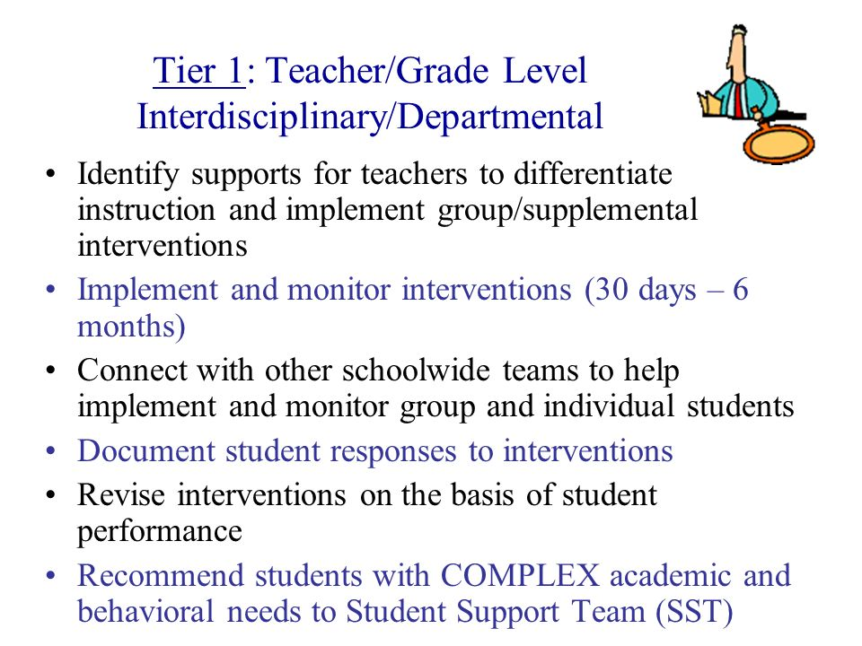 Identify supports for teachers to differentiate instruction and implement group/supplemental interventions Implement and monitor interventions (30 day