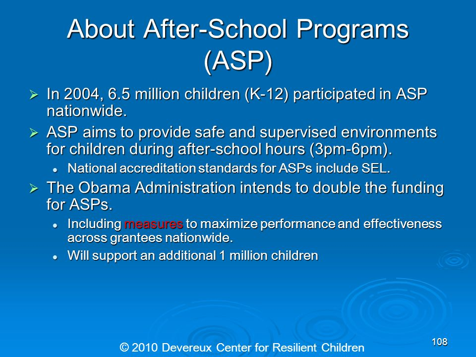 About After-School Programs (ASP) In 2004, 6.5 million children (K-12) participated in ASP nationwide. In 2004, 6.5 million children (K-12) participat
