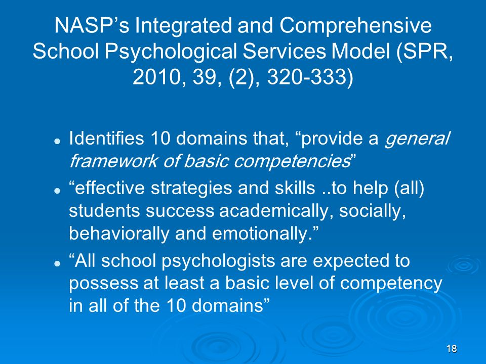 NASPs Integrated and Comprehensive School Psychological Services Model (SPR, 2010, 39, (2), 320-333) Identifies 10 domains that, provide a general fra