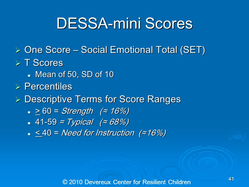 DESSA-mini Scores One Score – Social Emotional Total (SET) One Score – Social Emotional Total (SET) T Scores T Scores Mean of 50, SD of 10 Mean of 50,
