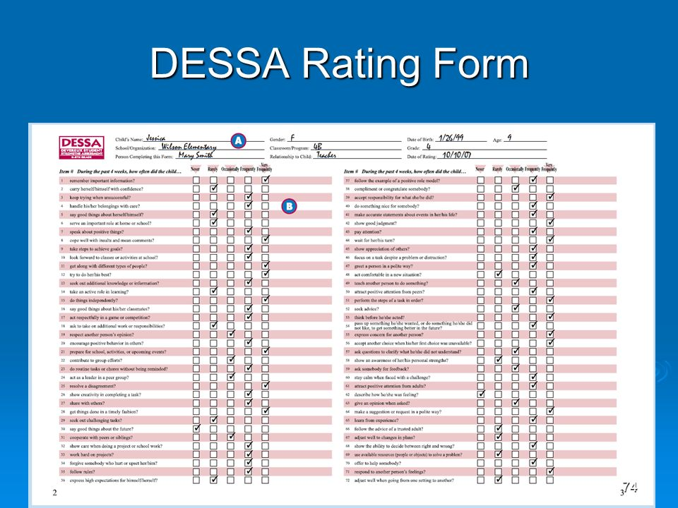 DESSA Rating Form 74