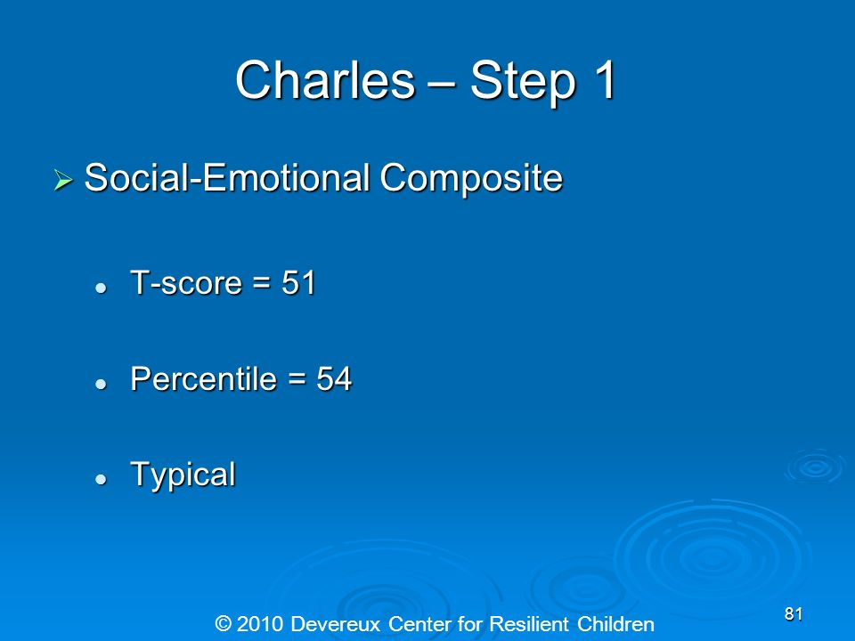 Charles – Step 1 Social-Emotional Composite Social-Emotional Composite T-score = 51 T-score = 51 Percentile = 54 Percentile = 54 Typical Typical © 201
