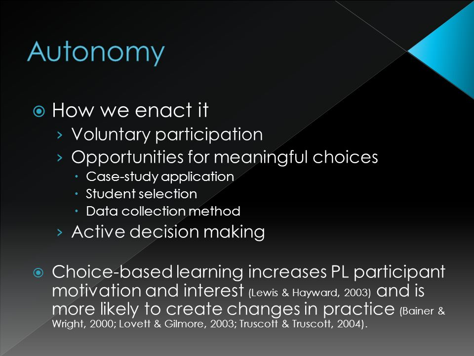 How we enact it Voluntary participation Opportunities for meaningful choices Case-study application Student selection Data collection method Active decision making Choice-based learning increases PL participant motivation and interest (Lewis & Hayward, 2003) and is more likely to create changes in practice (Bainer & Wright, 2000; Lovett & Gilmore, 2003; Truscott & Truscott, 2004).