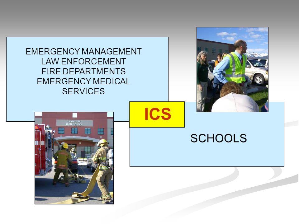EMERGENCY MANAGEMENT LAW ENFORCEMENT FIRE DEPARTMENTS EMERGENCY MEDICAL SERVICES SCHOOLS ICS