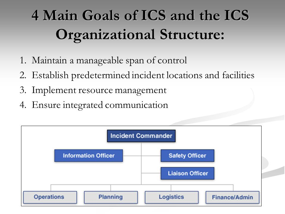 4 Main Goals of ICS and the ICS Organizational Structure: 1. Maintain a manageable span of control 2. Establish predetermined incident locations and f