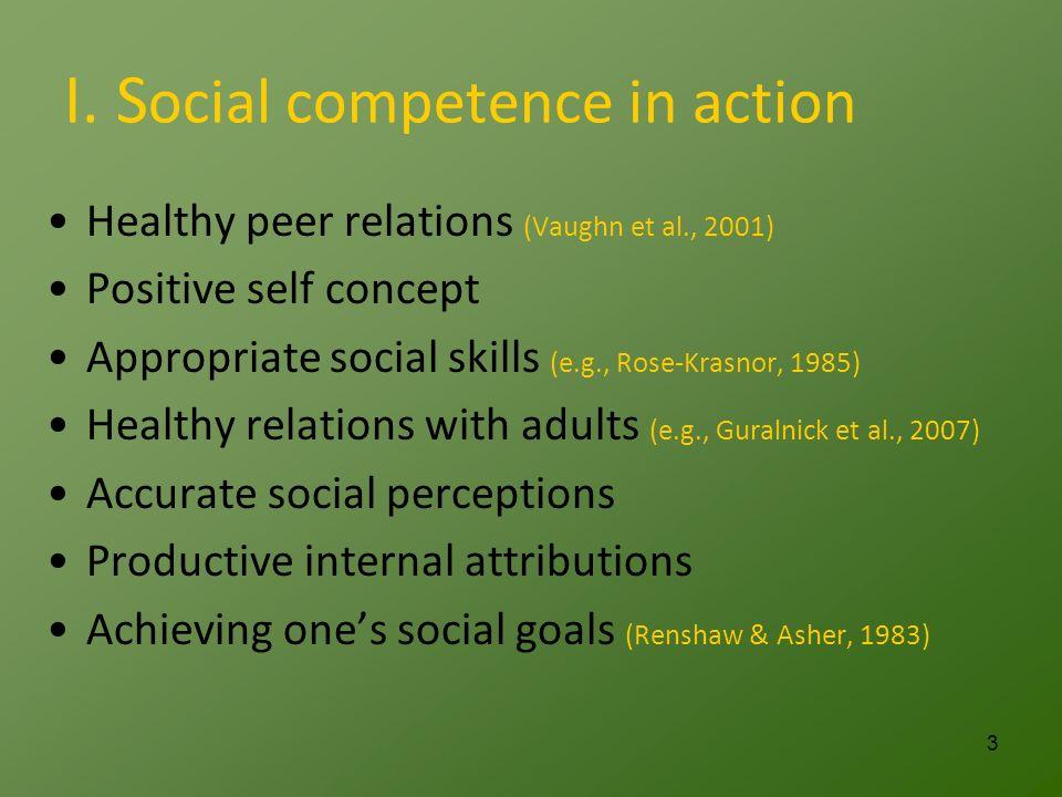 I. S ocial competence in action Healthy peer relations (Vaughn et al., 2001) Positive self concept Appropriate social skills (e.g., Rose-Krasnor, 1985