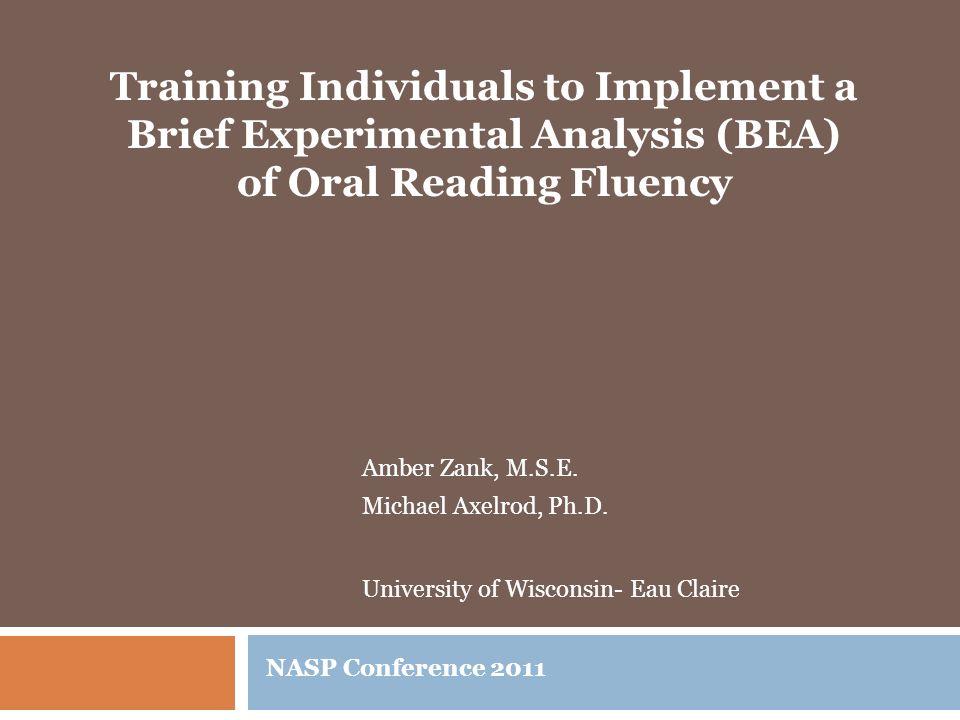 Amber Zank, M.S.E. Michael Axelrod, Ph.D.