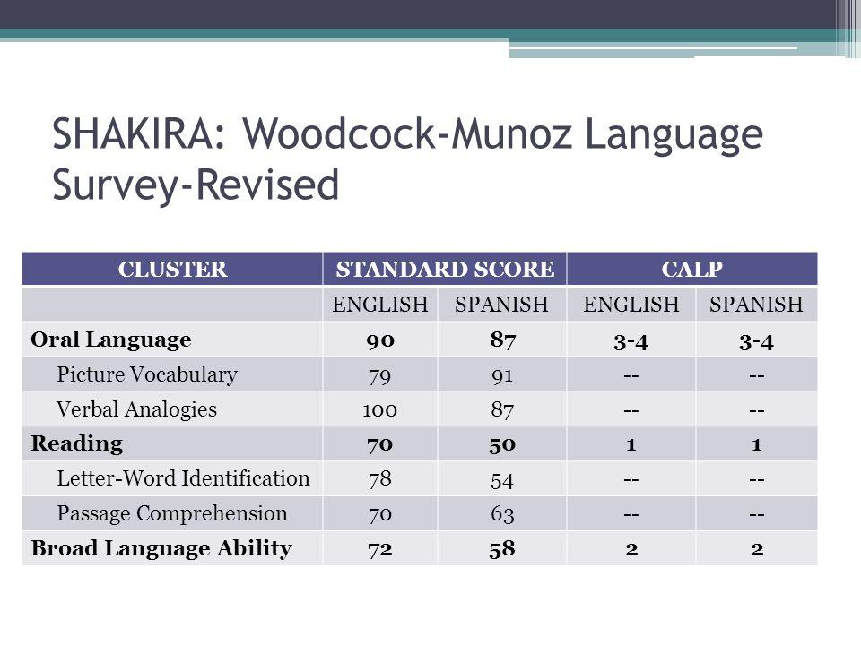 SHAKIRA: Woodcock-Munoz Language Survey-Revised CLUSTERSTANDARD SCORECALP ENGLISHSPANISHENGLISHSPANISH Oral Language90873-4 Picture Vocabulary7991-- V