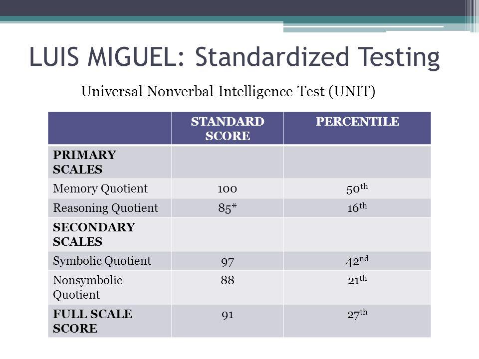 LUIS MIGUEL: Standardized Testing STANDARD SCORE PERCENTILE PRIMARY SCALES Memory Quotient10050 th Reasoning Quotient85*16 th SECONDARY SCALES Symboli