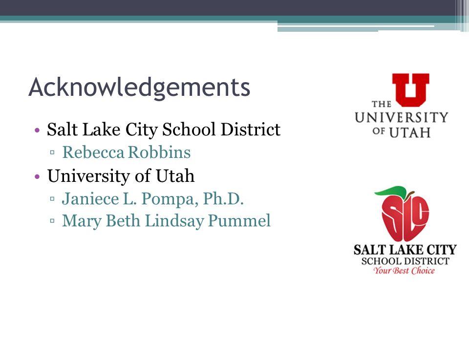 Acknowledgements Salt Lake City School District Rebecca Robbins University of Utah Janiece L. Pompa, Ph.D. Mary Beth Lindsay Pummel