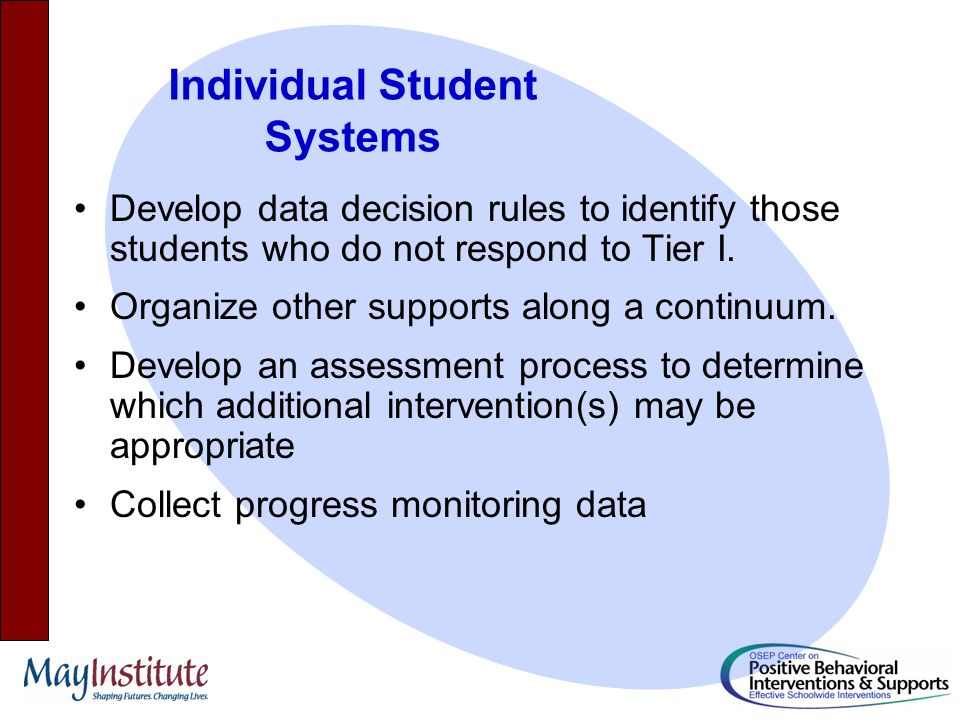Develop data decision rules to identify those students who do not respond to Tier I.