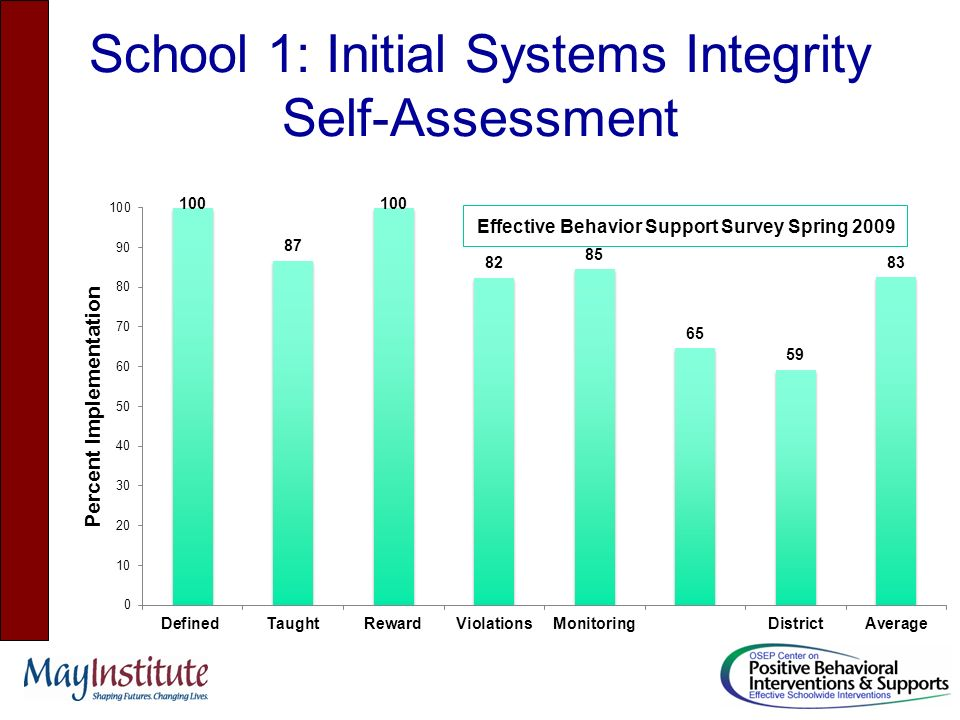School 1: Initial Systems Integrity Self-Assessment