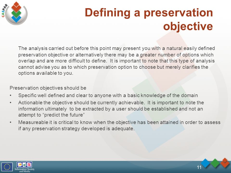 Defining a preservation objective The analysis carried out before this point may present you with a natural easily defined preservation objective or a