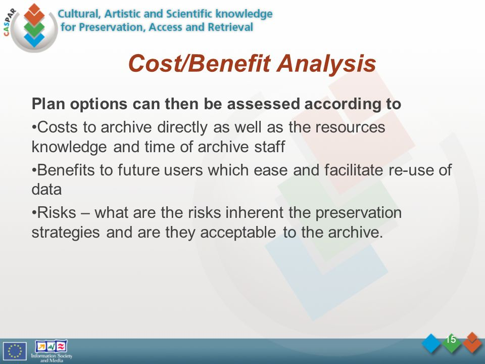 Cost/Benefit Analysis Plan options can then be assessed according to Costs to archive directly as well as the resources knowledge and time of archive