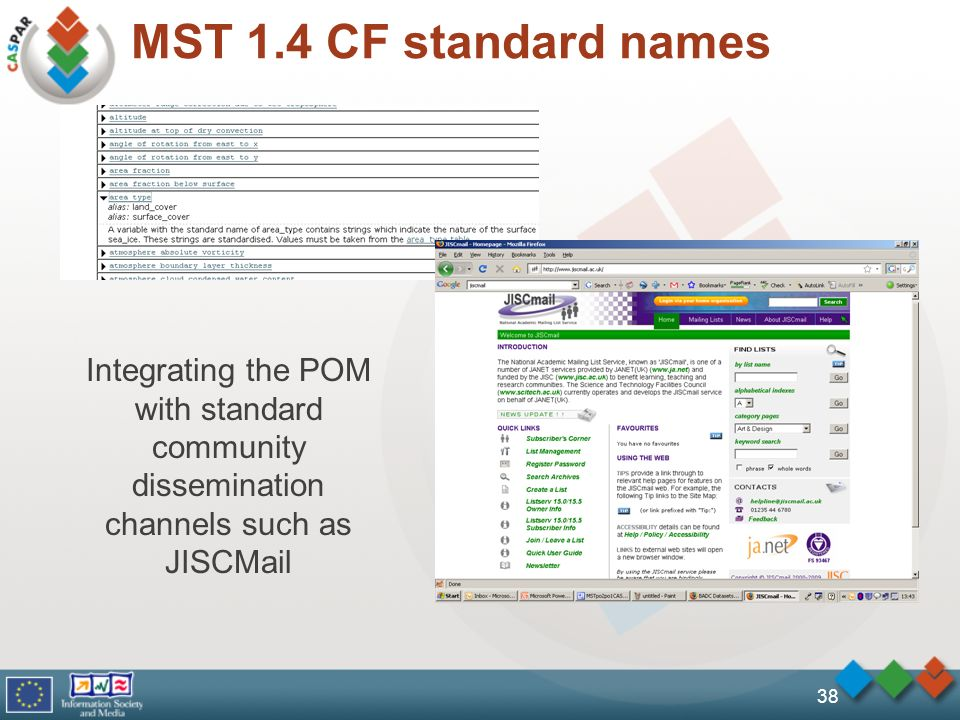MST 1.4 CF standard names 38 Integrating the POM with standard community dissemination channels such as JISCMail