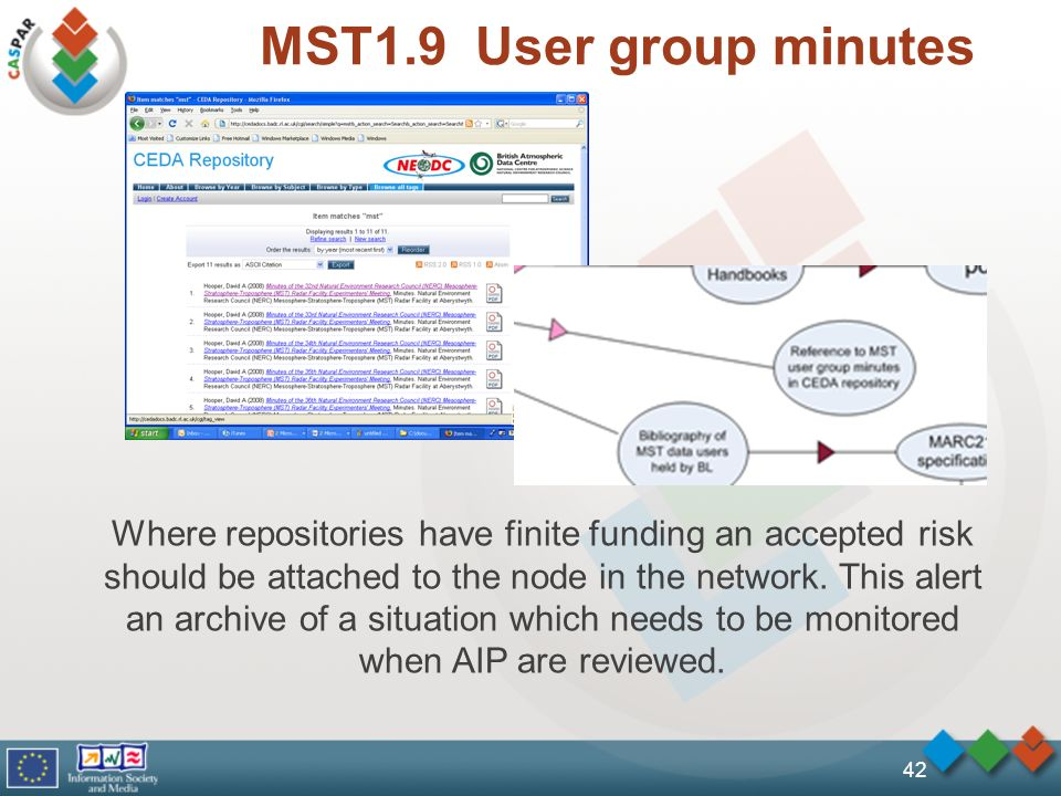 MST1.9 User group minutes 42 Where repositories have finite funding an accepted risk should be attached to the node in the network. This alert an arch