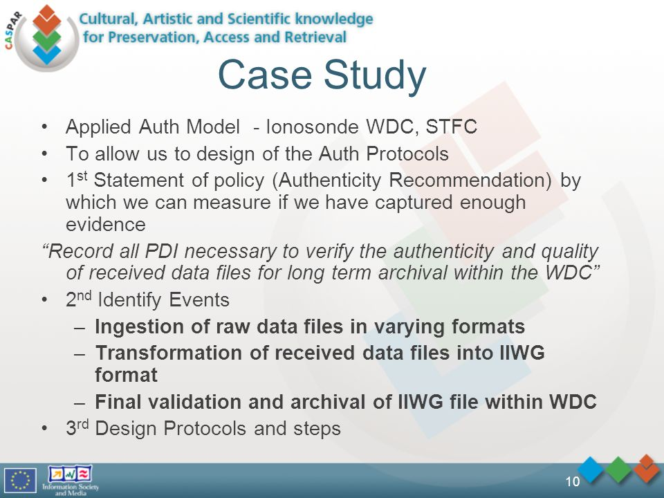 10 Case Study Applied Auth Model - Ionosonde WDC, STFC To allow us to design of the Auth Protocols 1 st Statement of policy (Authenticity Recommendation) by which we can measure if we have captured enough evidence Record all PDI necessary to verify the authenticity and quality of received data files for long term archival within the WDC 2 nd Identify Events –Ingestion of raw data files in varying formats –Transformation of received data files into IIWG format –Final validation and archival of IIWG file within WDC 3 rd Design Protocols and steps