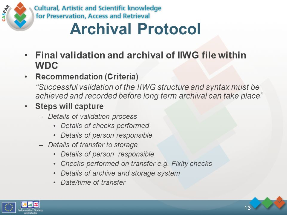 13 Archival Protocol Final validation and archival of IIWG file within WDC Recommendation (Criteria) Successful validation of the IIWG structure and syntax must be achieved and recorded before long term archival can take place Steps will capture –Details of validation process Details of checks performed Details of person responsible –Details of transfer to storage Details of person responsible Checks performed on transfer e.g.