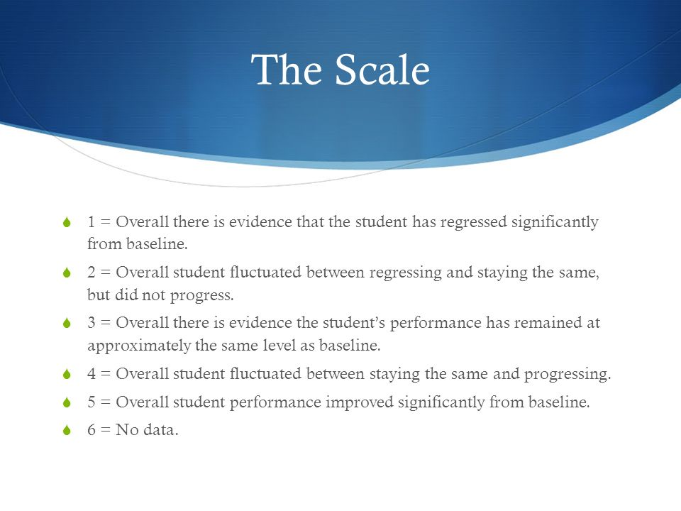 The Scale 1 = Overall there is evidence that the student has regressed significantly from baseline.
