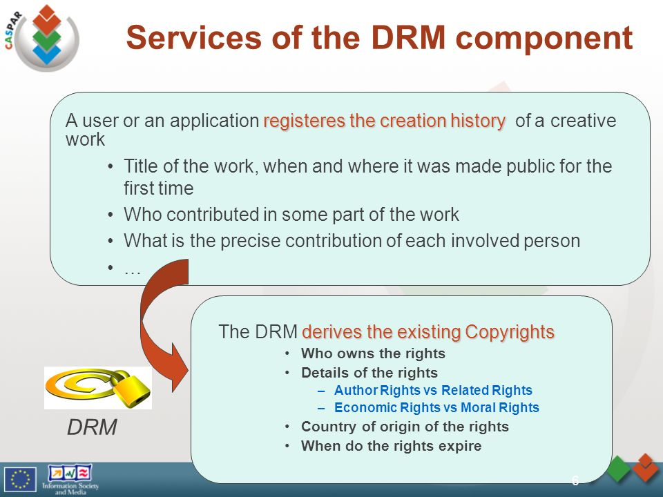 Services of the DRM component derives the existing Copyrights The DRM derives the existing Copyrights Who owns the rights Details of the rights –Author Rights vs Related Rights –Economic Rights vs Moral Rights Country of origin of the rights When do the rights expire registeres the creation history A user or an application registeres the creation history of a creative work Title of the work, when and where it was made public for the first time Who contributed in some part of the work What is the precise contribution of each involved person … DRM 6