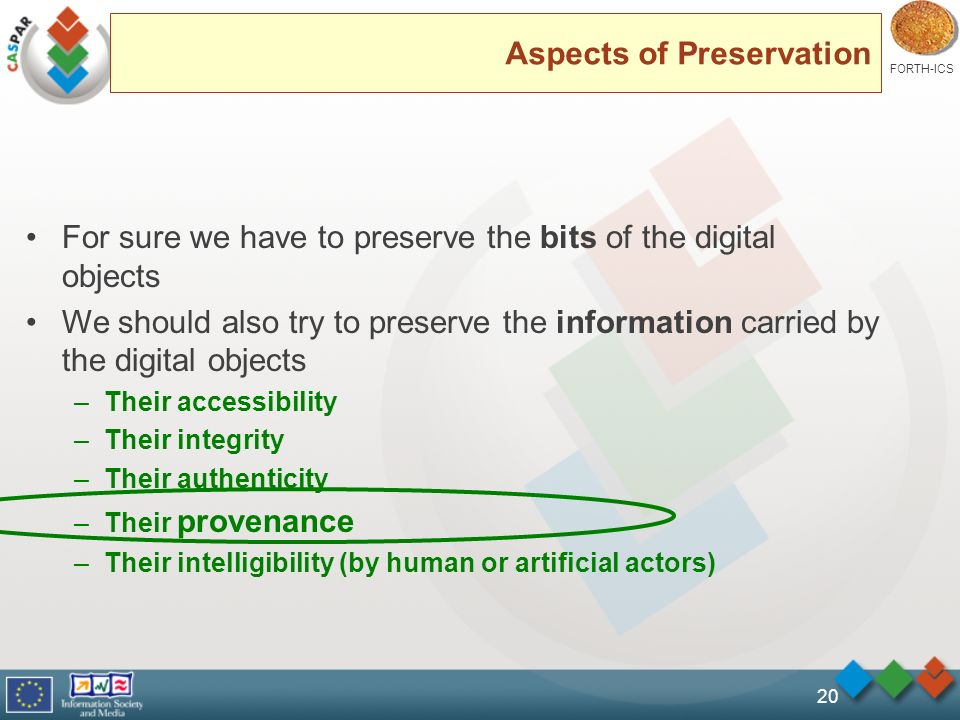 FORTH-ICS 20 Aspects of Preservation For sure we have to preserve the bits of the digital objects We should also try to preserve the information carried by the digital objects –Their accessibility –Their integrity –Their authenticity –Their provenance –Their intelligibility (by human or artificial actors)