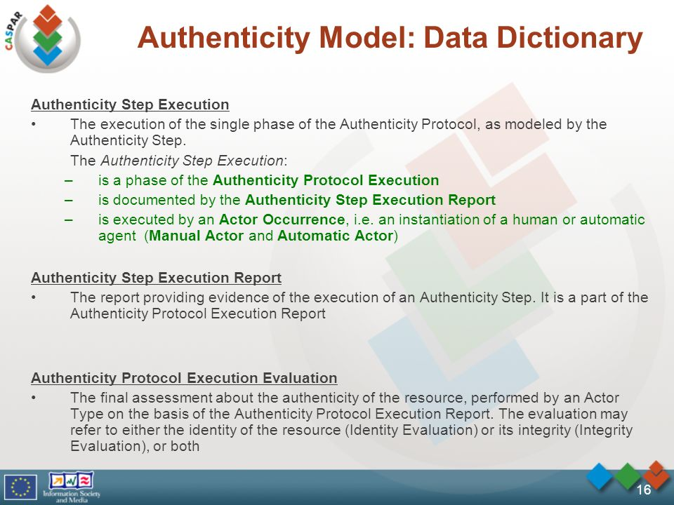 16 Authenticity Model: Data Dictionary Authenticity Step Execution The execution of the single phase of the Authenticity Protocol, as modeled by the Authenticity Step.