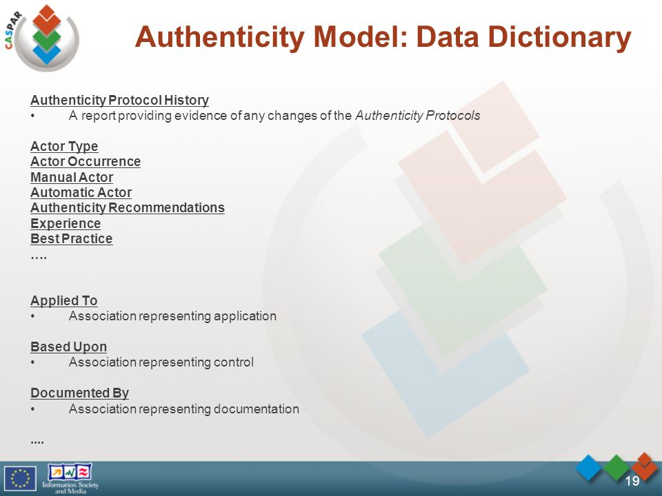 19 Authenticity Model: Data Dictionary Authenticity Protocol History A report providing evidence of any changes of the Authenticity Protocols Actor Type Actor Occurrence Manual Actor Automatic Actor Authenticity Recommendations Experience Best Practice ….