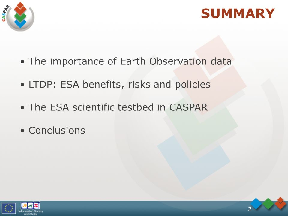 2 SUMMARY The importance of Earth Observation data LTDP: ESA benefits, risks and policies The ESA scientific testbed in CASPAR Conclusions