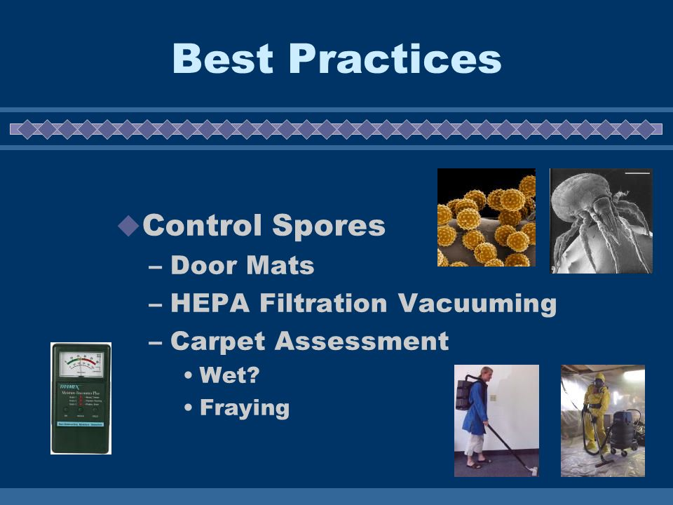 Best Practices Control Spores –Door Mats –HEPA Filtration Vacuuming –Carpet Assessment Wet? Fraying