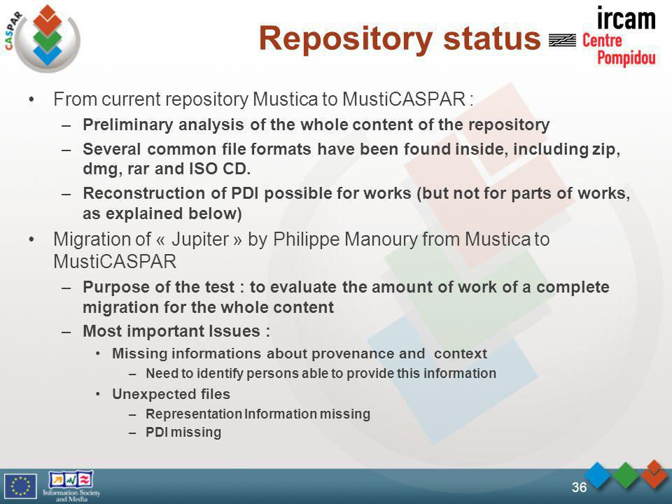 36 Repository status From current repository Mustica to MustiCASPAR : –Preliminary analysis of the whole content of the repository –Several common file formats have been found inside, including zip, dmg, rar and ISO CD.