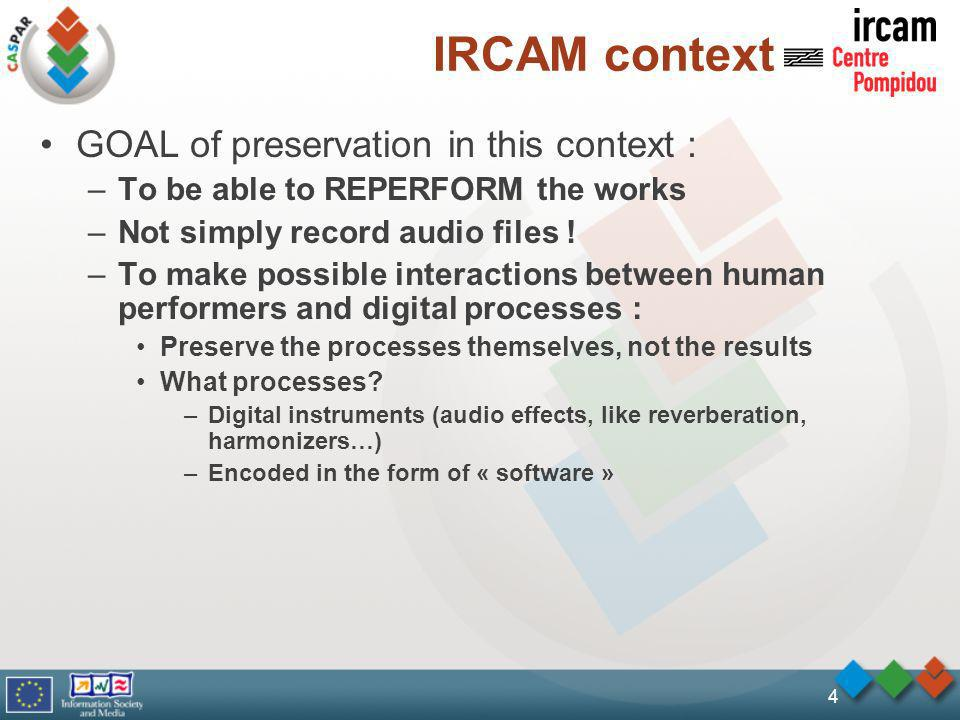IRCAM context GOAL of preservation in this context : –To be able to REPERFORM the works –Not simply record audio files .