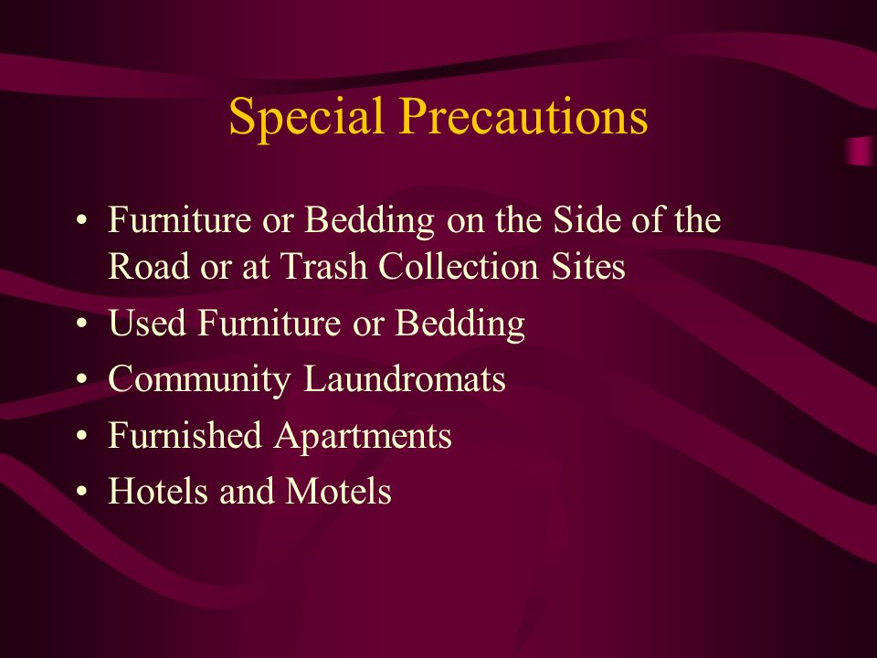 Special Precautions Furniture or Bedding on the Side of the Road or at Trash Collection Sites Used Furniture or Bedding Community Laundromats Furnishe