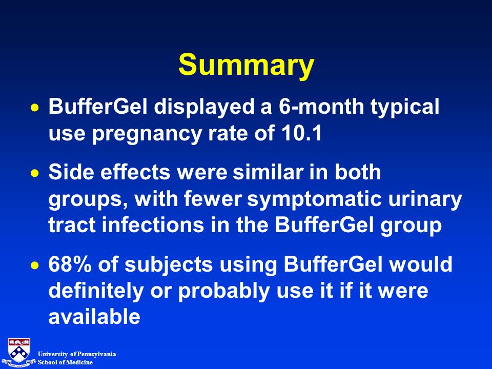 University of Pennsylvania School of Medicine Summary BufferGel displayed a 6-month typical use pregnancy rate of 10.1 Side effects were similar in both groups, with fewer symptomatic urinary tract infections in the BufferGel group 68% of subjects using BufferGel would definitely or probably use it if it were available
