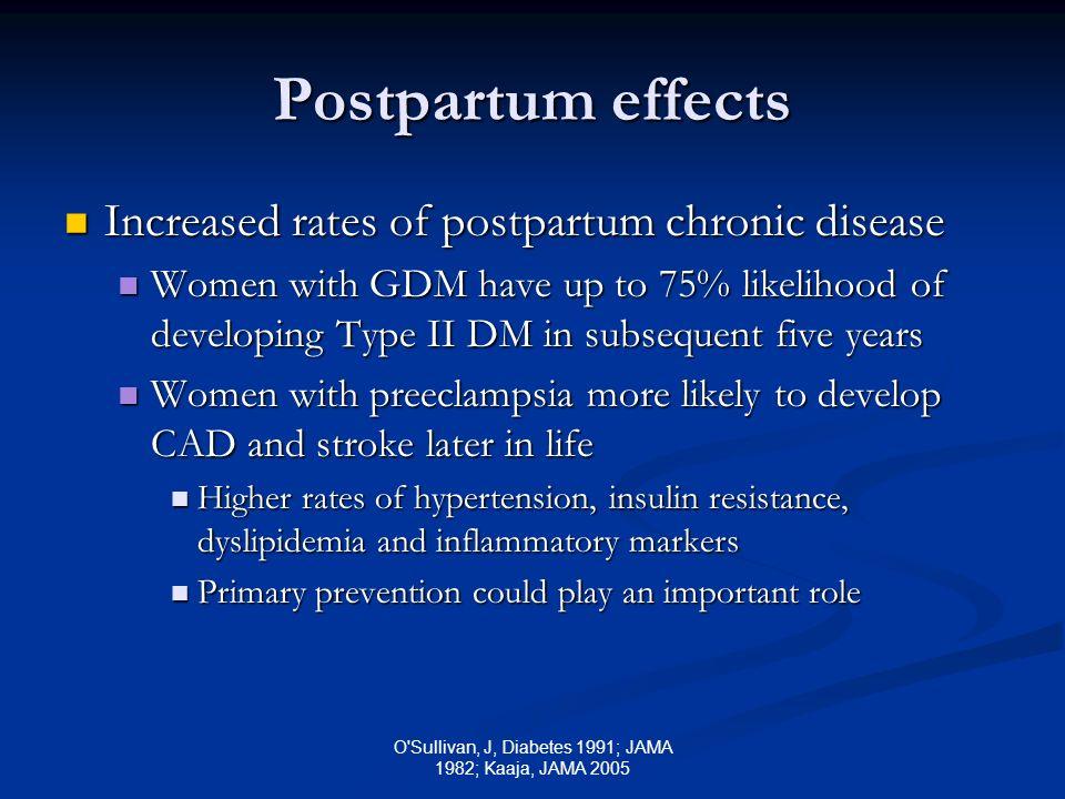O'Sullivan, J, Diabetes 1991; JAMA 1982; Kaaja, JAMA 2005 Postpartum effects Increased rates of postpartum chronic disease Increased rates of postpart