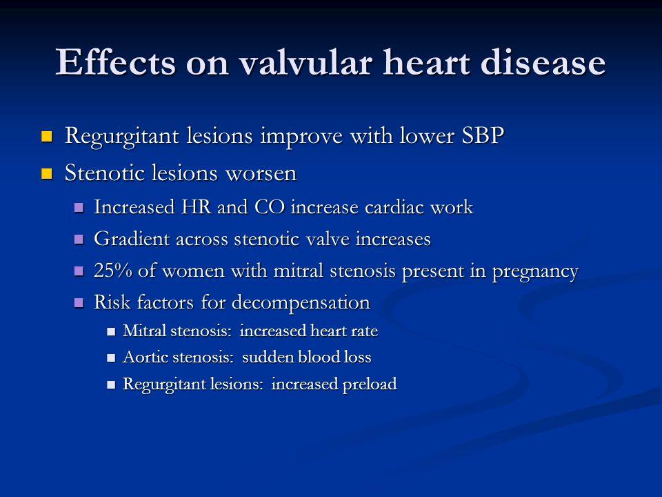 Effects on valvular heart disease Regurgitant lesions improve with lower SBP Regurgitant lesions improve with lower SBP Stenotic lesions worsen Stenot